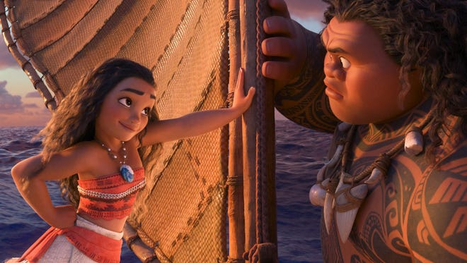 "This image released by Disney shows characters Maui, voiced by Dwayne Johnson, right, and Moana, voiced by Auli'i Cravalho, in a scene from the animated film, ""Moana."" The film was nominated for an Oscar for best animated feature on Tuesday, Jan. 24, 2017. The 89th Academy Awards will take place on Feb. 26. (Disney via AP)"