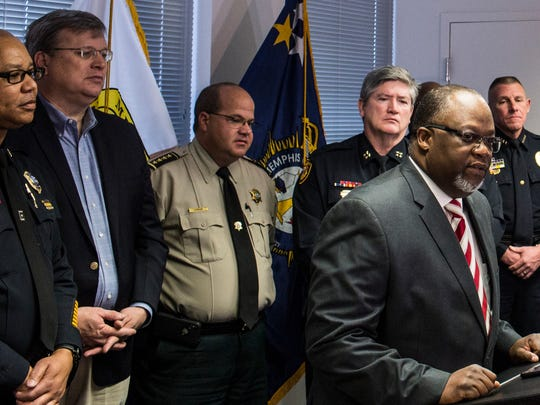 December 16, 2017 - Major Darren Goods, Operations Commander for the Multi-Agency Gang Unit, speaks during a press conference about the arrest of Sherra Wright, the ex-wife of slain former NBA player Lorenzen Wright. She has been charged with conspiracy, first-degree murder and criminal attempt first degree murder, Memphis police Director Michael Rallings said in announcing the charges Saturday.