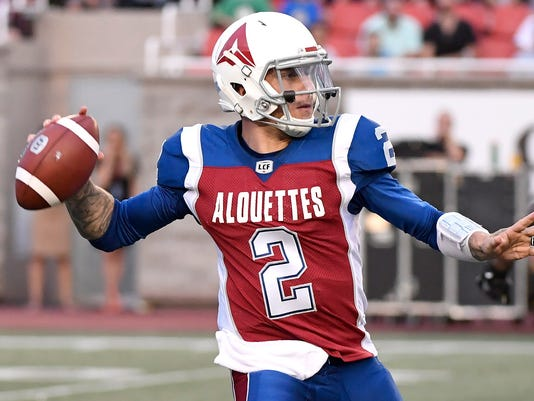 2332ad1856 AP CFL TIGER CATS ALOUETTES FOOTBALL S FBO CAN QC. Johnny Manziel had an  inauspicious start ...