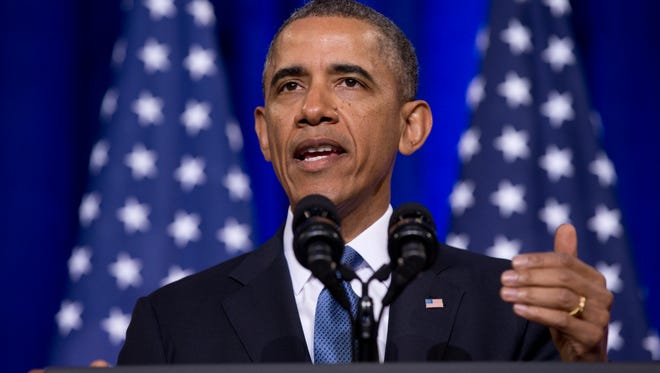 President Obama speaks about National Security Agency surveillance Jan. 17, 2014, at the Justice Department in Washington. The president called for ending the government's control of phone data from millions of Americans.