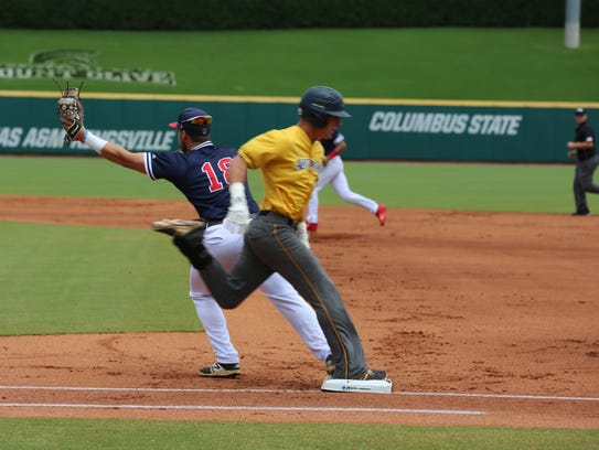Augustana's Riley Johnson grounds out to first base