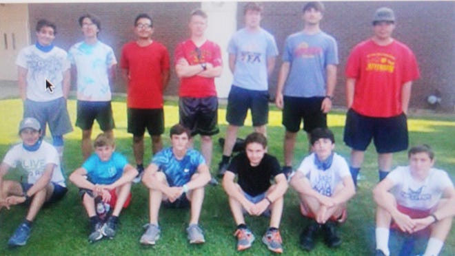 The 2020 Rocky Ford boys cross country team. Back row, from left, Juan Gonzales, Nate Encinias, Jason Hernandez, Aaron Culver, Addison Brusuelas, Nate Nealander and Kevin Tillman. Front row, from left, Tim Cardenas, Caden Miller, Josh Snyder, Ethan Robinson, Mateo Martinez and Robert Kimber.