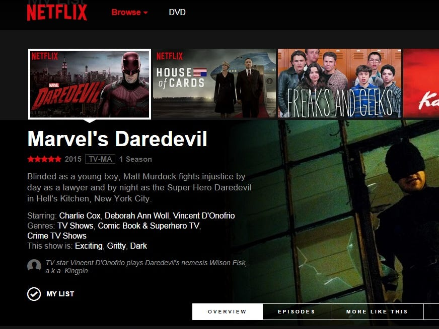 A screen shot of the new in-testing interface for Netflix.com.