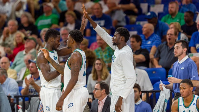 "For the third straight game, FGCU will be without Marc-Eddy Norelia, right, when the Eagles play at FAU tonight. Norelia has not been with the team due to ""personal reasons."""
