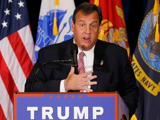 New Jersey Gov. Chris Christie gestures as he introduces