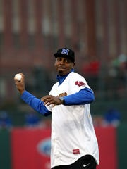 April 10, 2018 - Penny Hardaway, the new University of Memphis men's basketball coach, throws the first pitch at the start of the Memphis Redbirds game against the Omaha Storm Chasers during opening night at AutoZone Park on Tuesday.