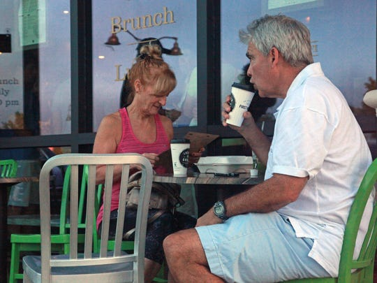 Terre and Joe Braunreuther, seasonal visitors from New Jersey, try the coffee Wednesday morning, Dec. 30, at a First Watch cafe that opened in Estero in April 2015.
