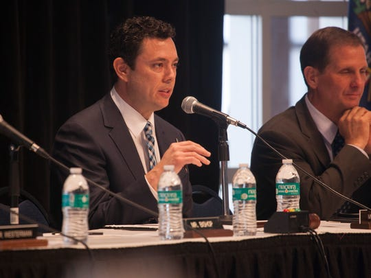 Congressman Jason Chaffetz addresses a speaker at the House Natural Resources Committee Hearing Friday, Jan. 22, 2016.