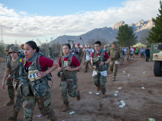 Marchers push forward in the 29th annual Bataan Memorial Death March at White Sands Missile Range on Sunday, March 25, 2018.