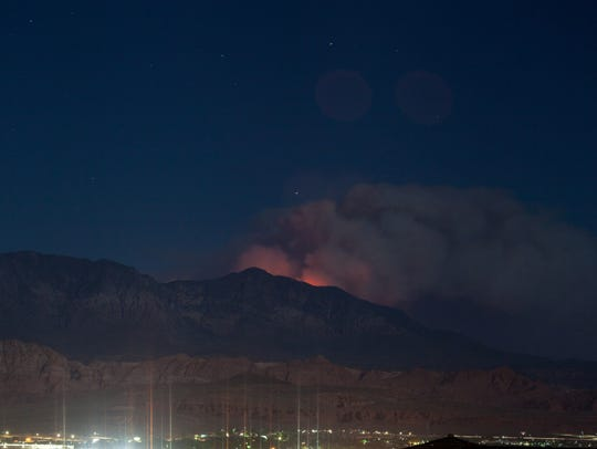 Smoke and glow from the West Valley Fire as seen from