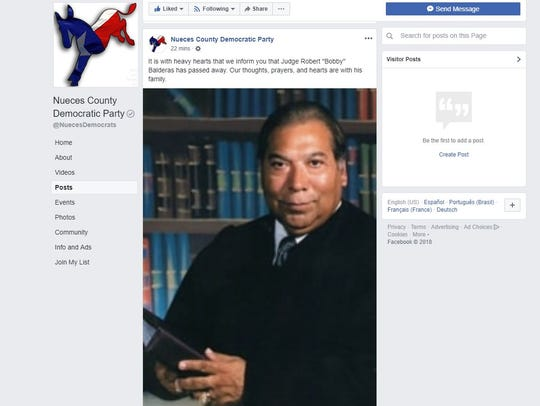 "The Nueces County Democratic Party announced on Tuesday Judge Robert ""Bobby"" Balderas died but his son later clarified in a Facebook post that his father is alive but struggling to fight an aggressive form of cancer."