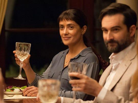 "Salma Hayek and Jay Duplass star in ""Beatriz at Dinner."""