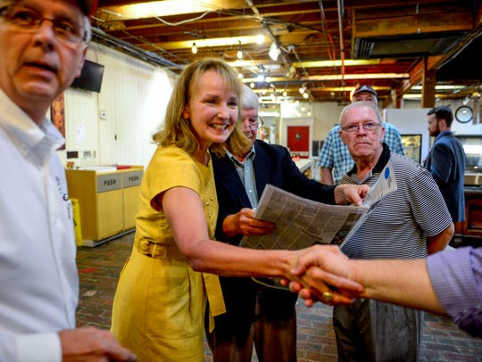 Tennessee governor candidate Beth Harwell greets residents