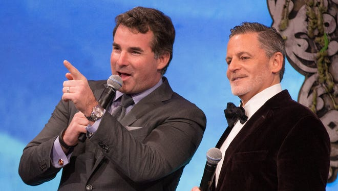 Dan Gilbert, pictured on the right, made the announcement Saturday alongside Under Armour CEO Kevin Plank.