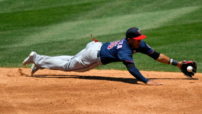 Minnesota Twins shortstop Ehire Adrianza is shown during a Twins game on Sunday, June 4 in Anaheim, Calif.