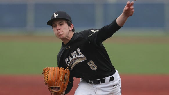 Iona Prep pitcher Anthony DeFabbia (8) delivers a pitch during varsity baseball action against Stepinac at Stepinac High School in White Plains on Friday, April 27, 2018.