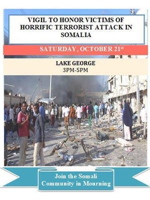 Community leaders are planning a prayer vigil in St. Cloud for the victims of the bombing in Somalia last weekend.It will be from 3-5 p.m. Saturday, Oct. 21 at Lake George.