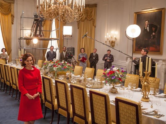 Natalie Portman, as Jackie Kennedy, leads a televised
