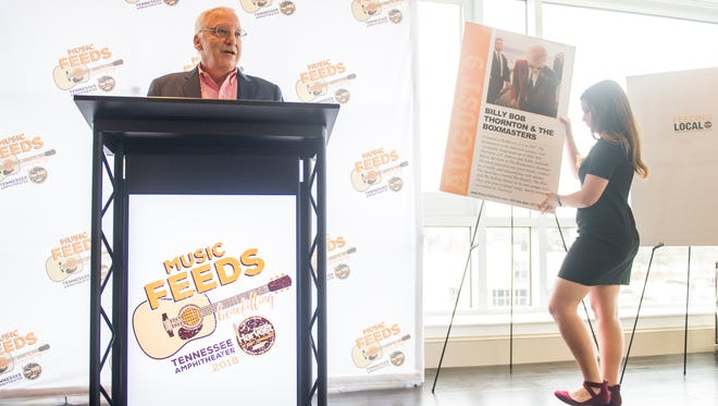 "Aaron Snukals, director of development for Second Harvest Food Bank, announces on Thursday, February 15, 2018, the bands who will play at the ""Music Feeds"" concert series to be held at the Tennessee Amphitheater in Knoxville's World's Fair Park."