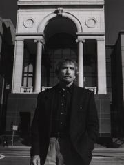 October 1974: Edward Albee outside the old Albee Theater.