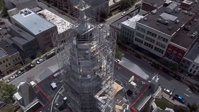 Jack Klink was able to capture this bird's-eye view of the Tippecanoe County Courthouse, now under repairs, with video shot from a drone flown over downtown Aug. 25.