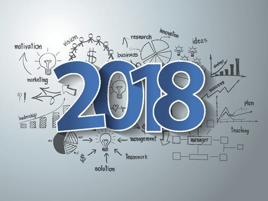 2018 on top of business charts and diagrams