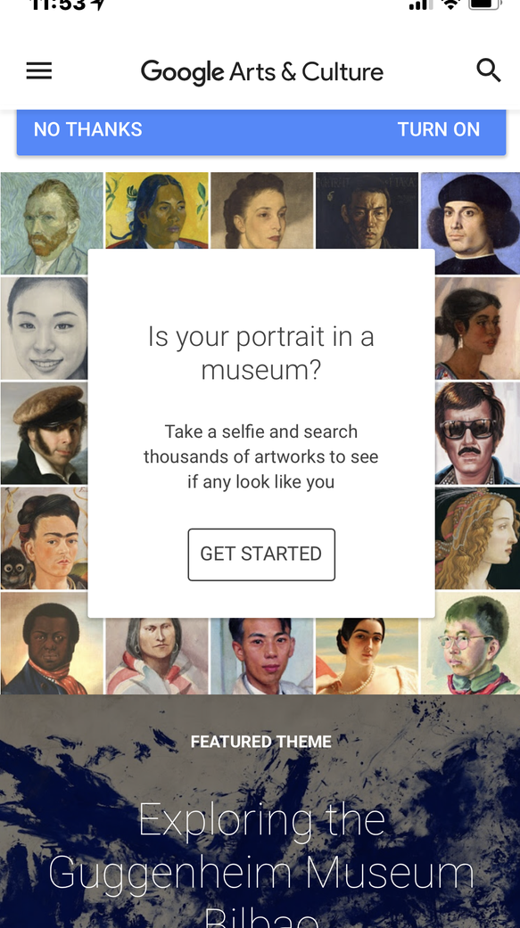 Google's selfie feature in the Arts and Culture app
