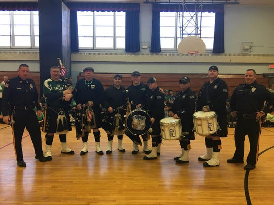 The Morris County Pipers and Drums performed during a suprise assembly at Netcong Elementary School on St. Patrick's Day.