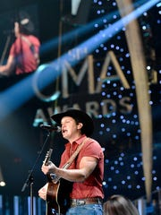 Jon Pardi rehearses for his part in the 51st CMA Awards