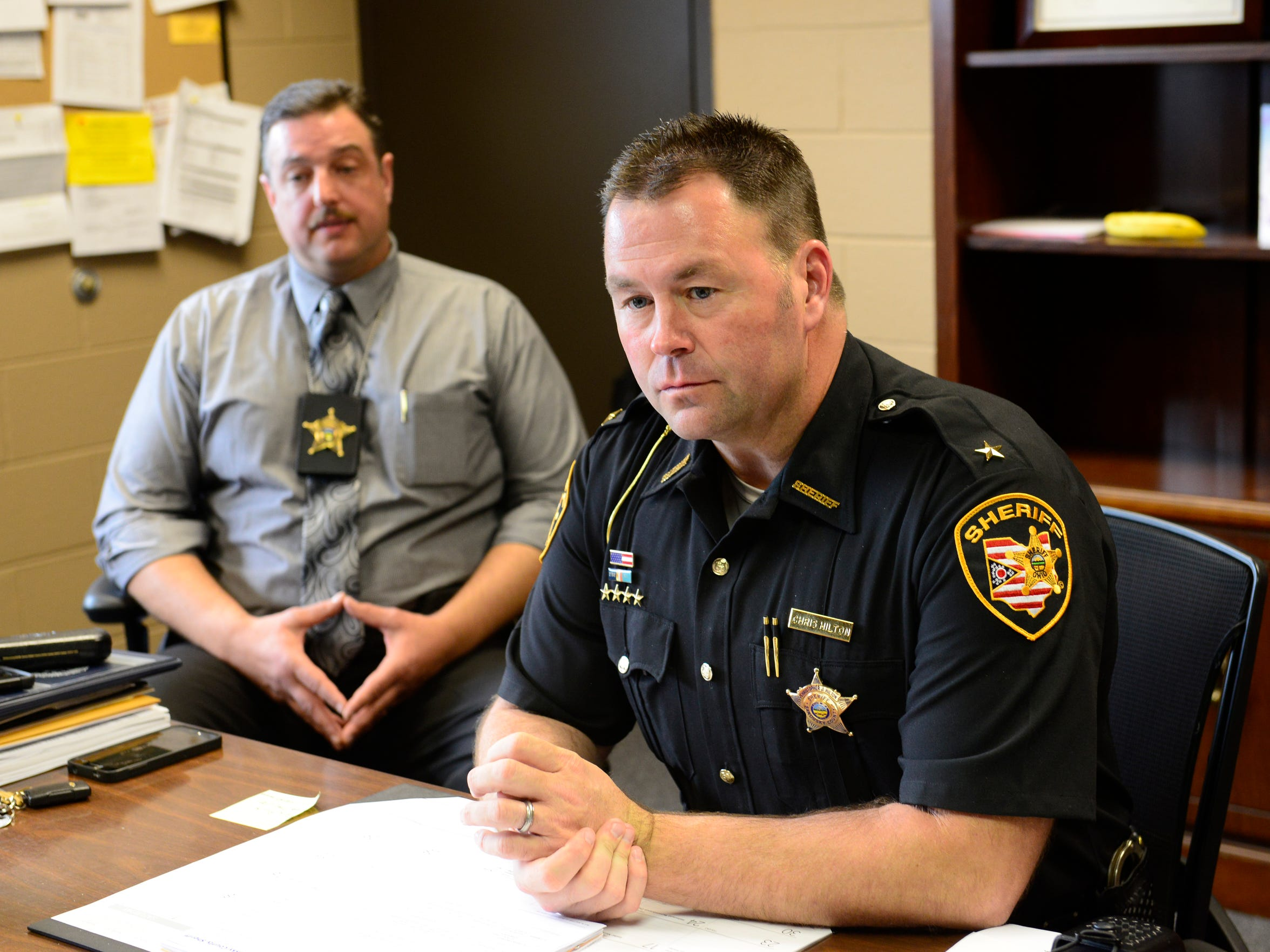 Sheriff Chris Hilton, right, and Major Nick Kotsopoulos of the Sandusky County Sheriff's Office have boosted efforts to solve the Heather Bogle homicide.