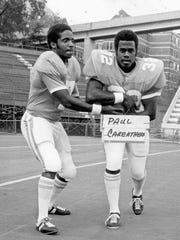 Paul Careathers, right, with Condredge Holloway in 1974. Careathers was a fullback at Tennessee  from 1972-74.