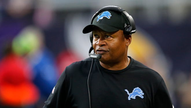 Lions head coach Jim Caldwell watches from the sideline during the second half against the Vikings, Sunday, Oct. 1, 2017 in Minneapolis.