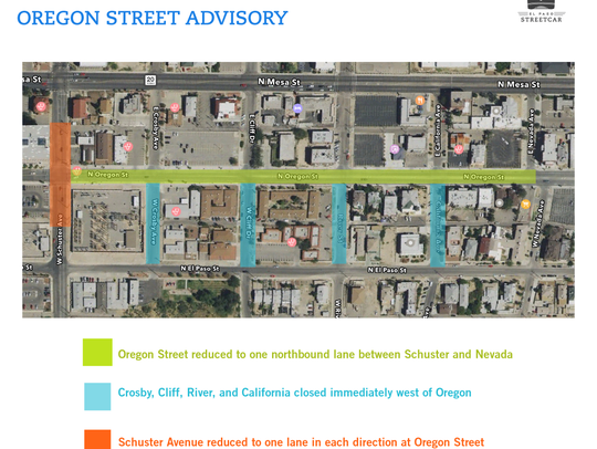 A map detailing the Oregon Street closures