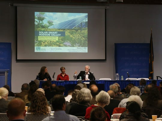 A Q&A session was held with, from left, Elizabeth Broad of New Yorkers for Clean Energy, Evelyn Wright of Citizens for Local Power and Karl Rabago of the Pace Energy and Climate Center during Scenic Hudson's Solar Smart Hudson Valley symposium in Hyde Park on March 27, 2018.