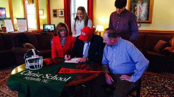 Christ School senior lineman Austin Cooke has signed to play college football for North Greenville (S.C.).