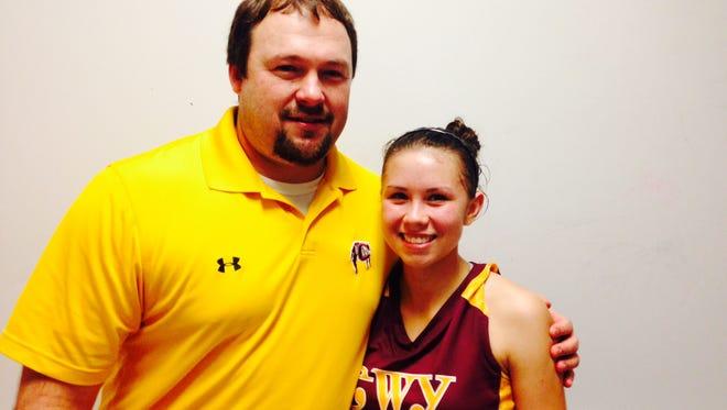 Cherokee girls basketball coach Chris Mintz and Kendall Toineeta.