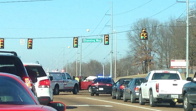 Police are responding to a vehicle wreck on Channing Way near the 45 Bypass.