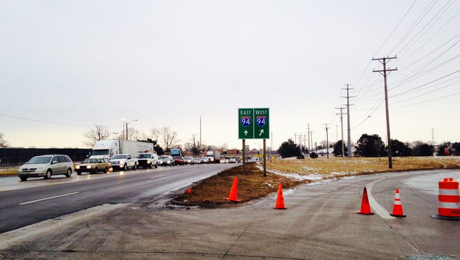 The ramp to I-94 West at Oakwood is blocked off until clean-up is complete  Thursday, Jan. 29, 2015.