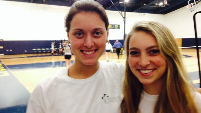 Asheville Christian Academy's Maribeth Harrington, left, and Taylor Robinson.