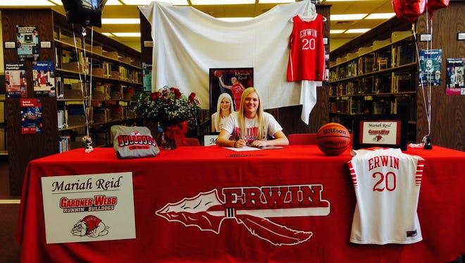 Erwin senior Mariah Reid has sign to play college basketball for Gardner-Webb.