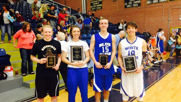 The individual award winners for Saturday's Blue-White All-Star games were, left to right, Hayesville's Amanda Thompson, Madison's Baylea Loven, North Buncombe's Daniel Burchette and Cherokee's Dustin Johnson.