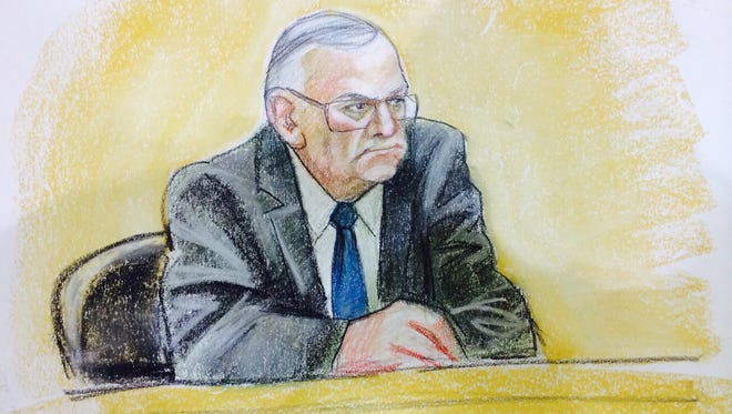 A sketch of Sheriff Joe Arpaio testifying in federal court on April 23, 2015.