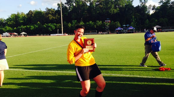 Reynolds senior goalkeeper Dallas Warren with her MVP trophy.