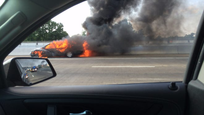 Car fire on I-95 southbound  before fire crews arrived.