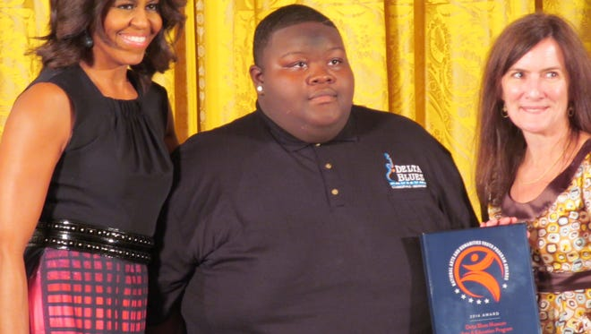 Michelle Obama, Christone Ingram and Shelley Ritter at the White House in November.