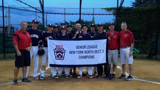 The Elmsford Senior Little League baseball team which won the Section 3 championship. From left to right are manager Steve Cowles, Sean McCarthy, Joey Cappiello, Drew DiSerio, Alec Bjorkland, Travis Cowles, Danny Smith, Michal Kozlowski, DJ Owen, Justin Howard, Kai Bertolacci, Coaches Dave Owen and Pete Howard. Not in the photo are Brian McKillop, Ryan Smith, Roy Omess, Matt Bischof, and Henry Houston.