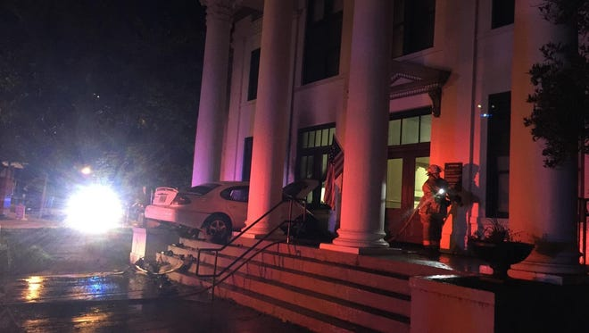 A man crashed his car onto the steps of the Jefferson County Courthouse late Thursday night. FHP does not believe alcohol was a factor, and the man was transported to TMH. The courthouse, which received minor damage, is open today, said Jefferson County Clerk of Court Kirk Reams.