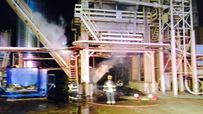 Two employees were injured in a fire at the Stavola Quarry in Bridgewater on Wednesday night.