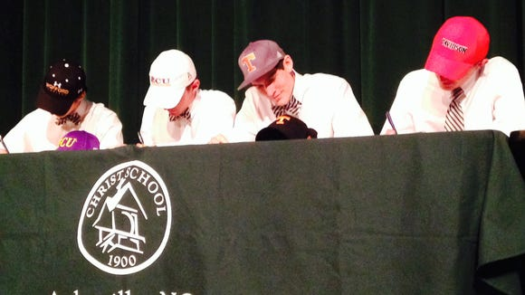 Christ School's Young Perry (Wofford soccer), Chris Akers (East Carolina golf), John Fulkerson (Tennessee basketball) and Michael Freeman (Davidson golf) have signed to play college sports.