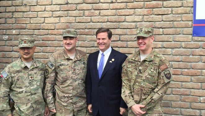 Rep.Donald Norcross, D-N.J., in Kabul,Afghanistan with U.S. soldiers in a congressioanal committee visit last week